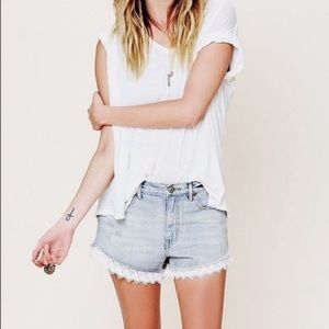 Free People High Waisted Distress Lace Trim Shorts